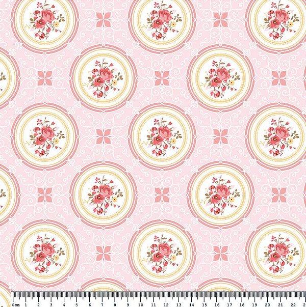 Tecido Tricoline Medallion Rosa Cotton (Fundo Rosa) - Coleção So Spring By Anita Catita - Preço de 50 cm x 150cm
