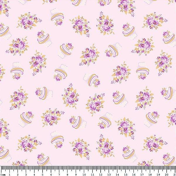 Tecido Tricoline Cupcake Flowers Lavanda (Fundo Lilás) - Coleção So Spring By Anita Catita - Preço de 50 cm x 150cm