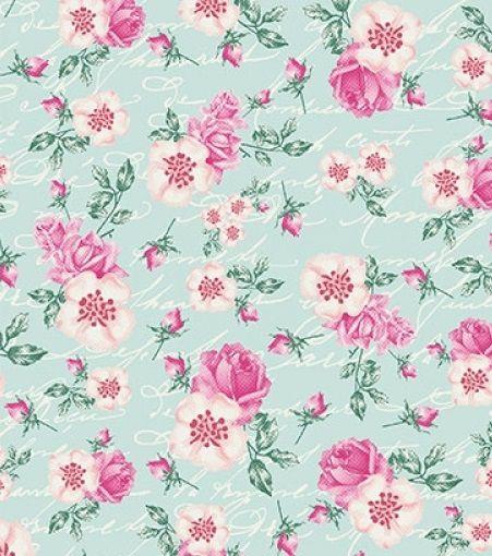 Tecido Tricoline Floral e Escritas - Fundo Tiffany - Preço de 50 cm X 150 cm