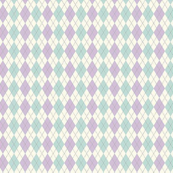 Tecido Triccoline Estampado Argile Azul Piscina e Lilás (Lavanda) - Coleção Anita Catita - Preço de 45cm x 150cm