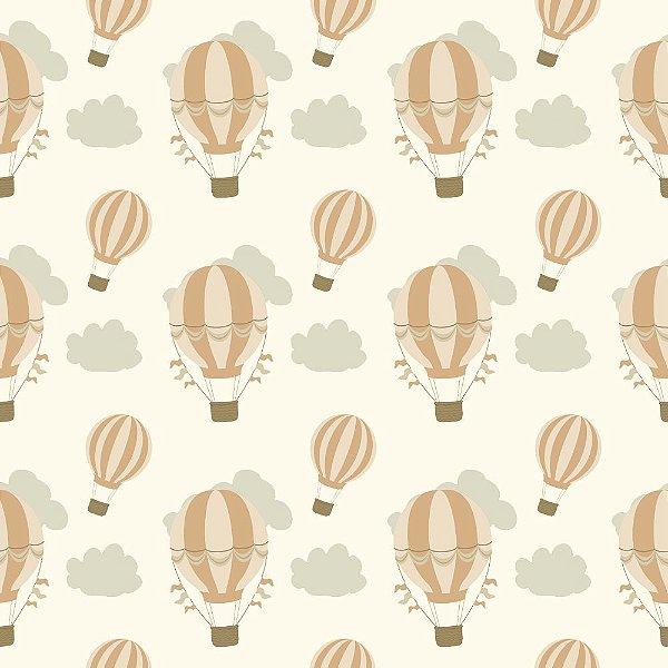 Tecido Tricoline Infantil Balão Pêssego (Salmão) - Coleção Anita Catita - Preço de 50 cm x 150 cm