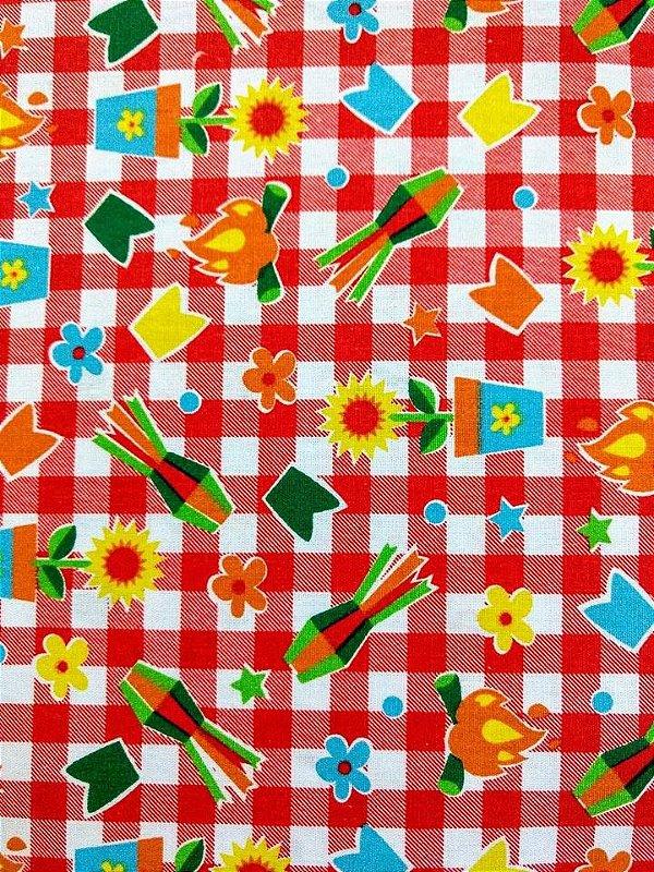 Tecido Tricoline Estampado Junino - Fundo Xadrez Vermelho e Branco - Preço de 50cm x 150cm