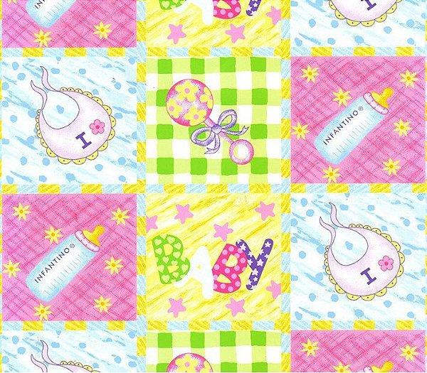 Tecido Tricoline Estampado Baby, Mamadeira, Chocalho, Fralda - Preço de 50 cm x 150 cm