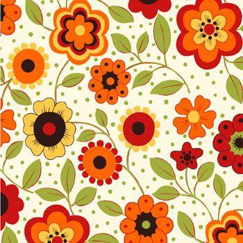 Tecido Tricoline Estampa Floral c/ Poá (Fundo Creme) - Coleção Alegria - Preço de 50 cm X 150 cm