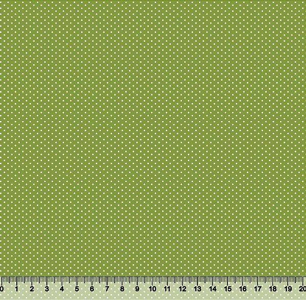 Tecido Tricoline Estampa Micro Poá Verde Abacate - Preço de 45 cm x 150cm