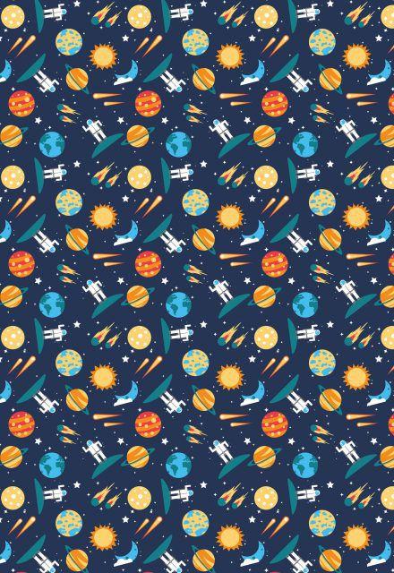 Tecido Tricoline Estampa Espaço: Sol, Estrela, Planetas, Foguete, Astronauta, Lua e Cometa - Fundo Azul Marinho - Preço de 50cm x 146 cm