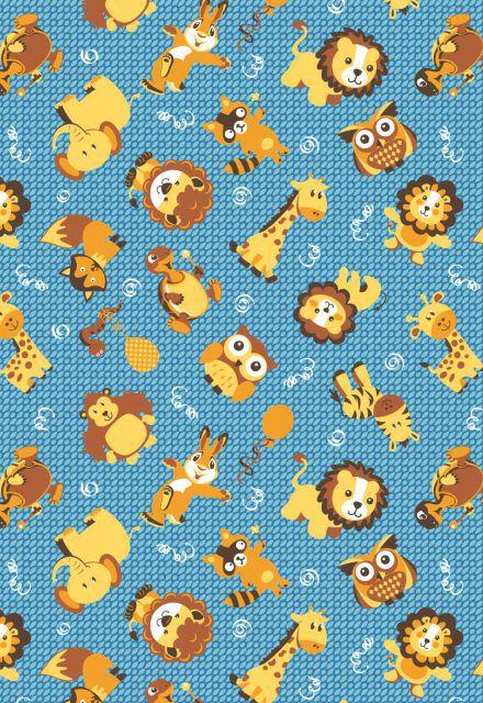 5e376b051e5486 Tecido Tricoline Estampa Infantil Animais: Leão, Raposa, Elefante, Coruja,  Coelho, Girafa, Cobra e Macaco - Fundo Azul - Preço de 50 cm X 146 cm