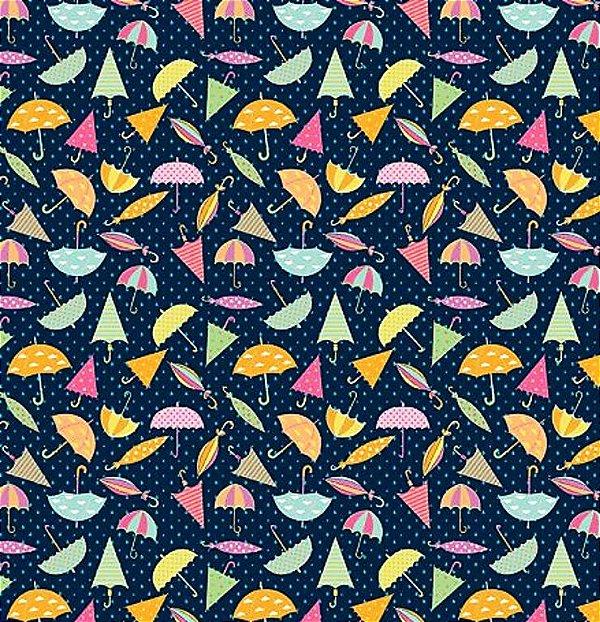 Tecido Tricoline Estampa de Guarda Chuva e Sol Color - Fundo Marinho - Preço de 50 cm x 150 cm