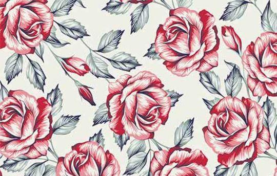 d0e0cc28d Tecido Tricoline Floral Rosas Vermelhas - Fundo Bege - Preço de 50 cm X 150  cm