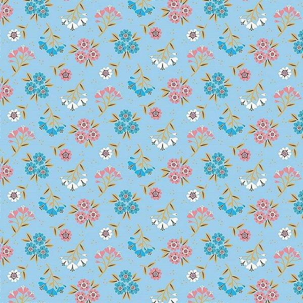 Tecido Tricoline Estampado Bouquet Primavera - Fundo Azul Claro - Coleção 4 Estações - Preço de 45 cm x 150 cm