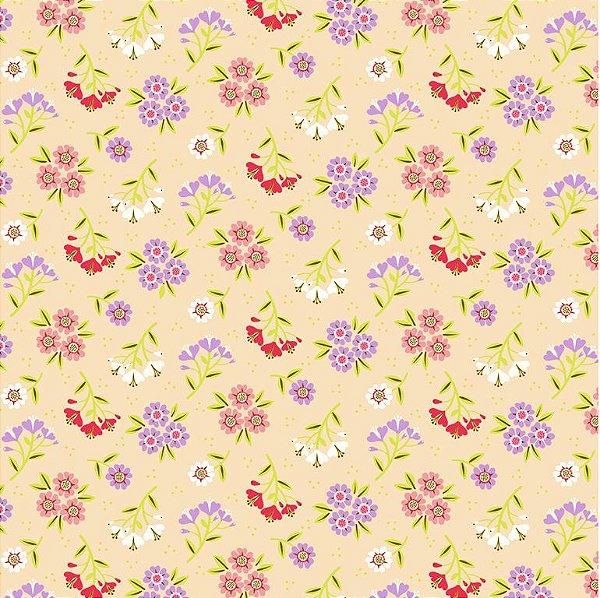Tecido Tricoline Estampado Bouquet Verão - Fundo Pêssego (Salmão) - Coleção 4 Estações - Preço de 50 cm x 150 cm