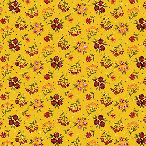 Tecido Tricoline Estampado Bouquet Outono - Fundo Amarelo - Coleção 4 Estações - Preço de 50 cm x 150 cm