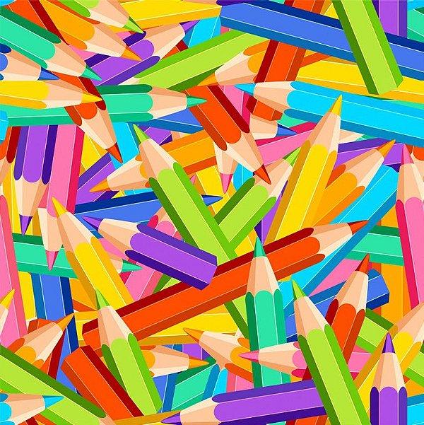 Tecido Digital - Lápis Embaralhados Coloridos - Preço de 50 cm x 140 cm