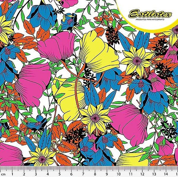 478f1c45ca1b6 Tecido Tricoline Jardim Flores Fluorescentes (Fundo Branco) - Preço de 50  cm x 140