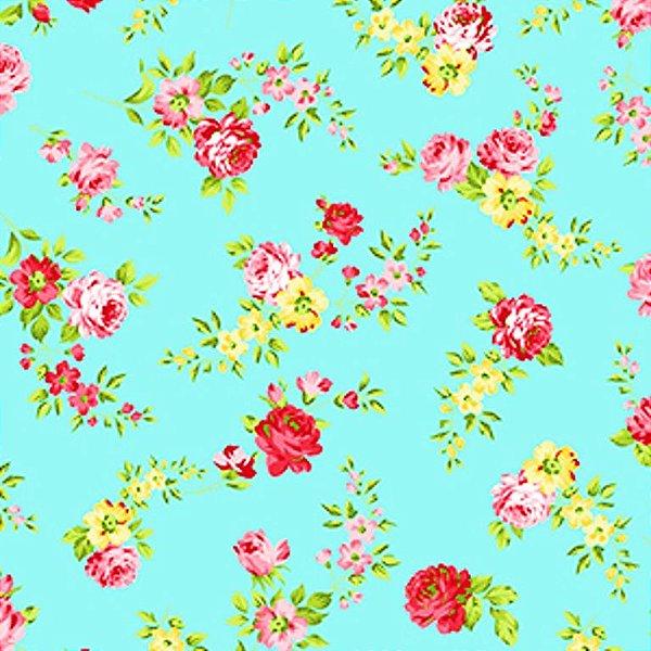 2b551a62f Tecido Tricoline Estampado Floral - Fundo Tiffany - Preço de 50 cm x 150 cm
