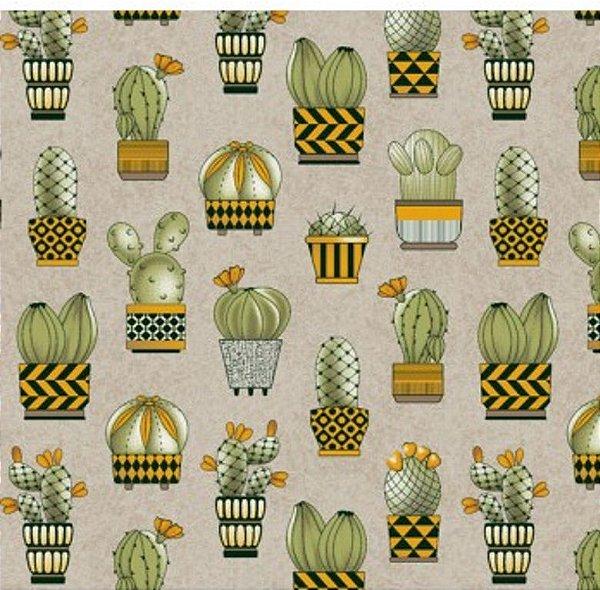 Tecido Tricoline Cactus - Fundo Cinza e Amarelo - Coleção Viva a Natureza - Preço de 50cm X 150