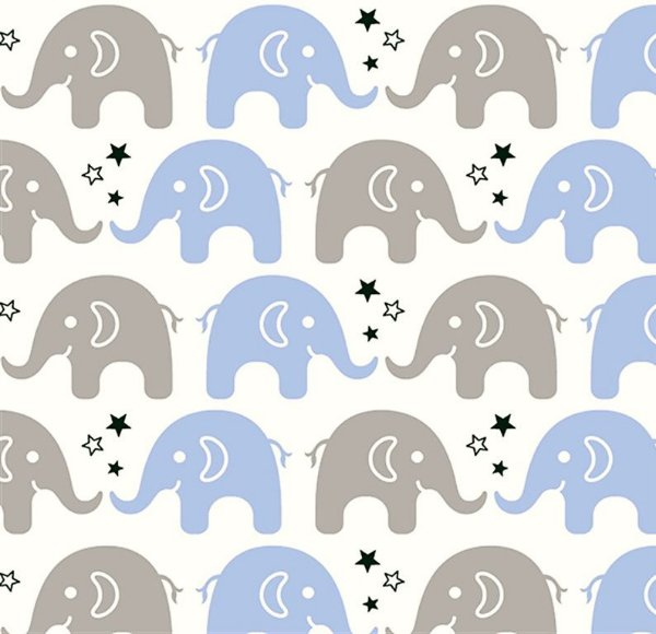 Tecido Tricoline Estampa de Elefante Cinza e Azul Claro - Preço de 45 cm X 150 cm
