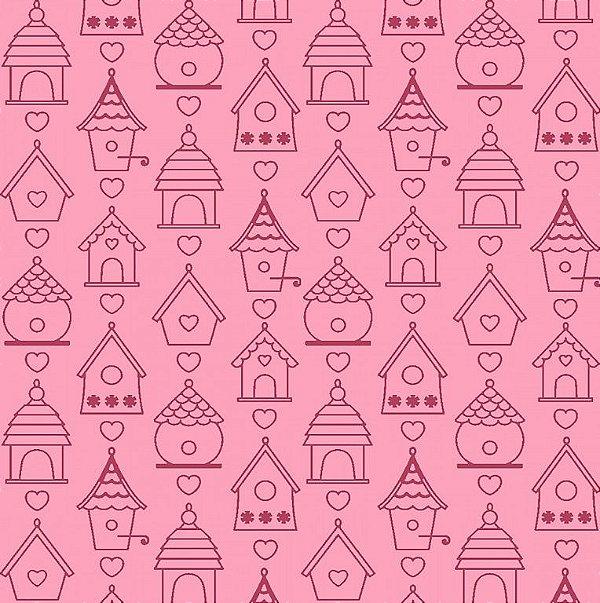tecido tricoline contorno de casas de passarinhos rosa coleção som