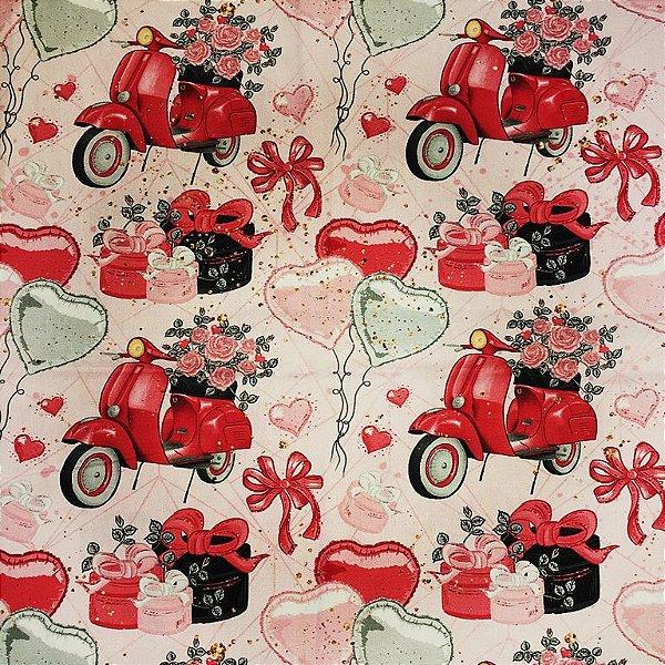Tecido Estampa Digital - Lambreta - Fundo Rosa- Preço de 50 cm x 140 cm