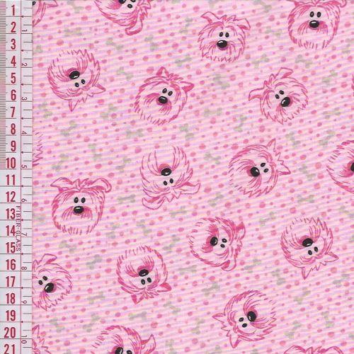Tecido Tricoline Estampado Cachorro e Ossinhos - Fundo Rosa - Preço de 50 cm x 150 cm