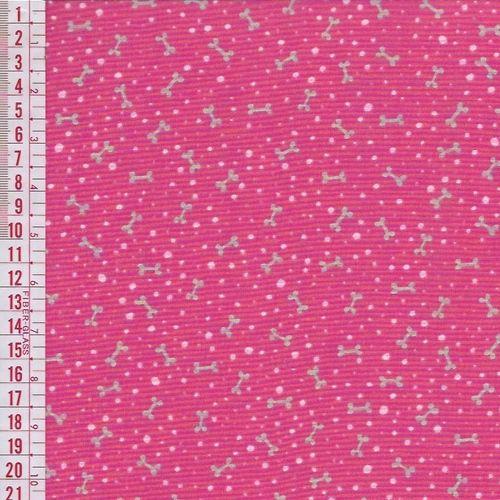 Tecido Tricoline Estampado Ossinhos - Fundo Rosa - Preço de 50 cm x 150 cm