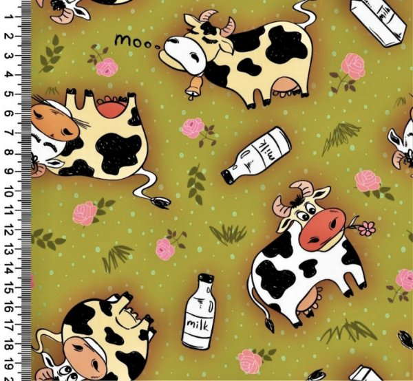Tecido Digital Estampado Vaca - Fundo Verde - Coleção Semaninha - Preço de 50 cm x 150 cm