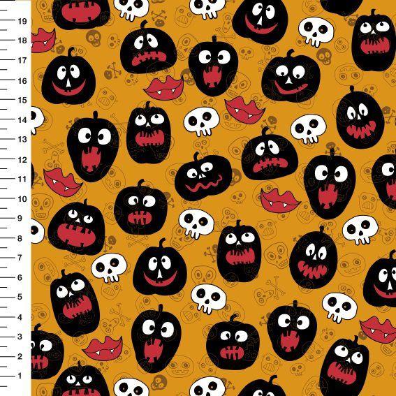 Tecido Digital Estampado Halloween: Abóboras, Caveirinhas e Boca de Vampiro - Fundo Laranja - Preço de 50 cm x 150 cm