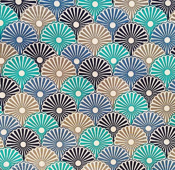Tecido Tricoline Estampa Leque Floral - Tiffany, Azul Marinho, Cinza e Azul Jeans  - Preço de 50cm x 150cm