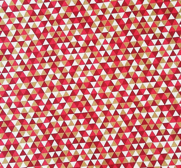333c1d00e8 Tecido Tricoline Estampa Triângulos Coloridos - Caqui