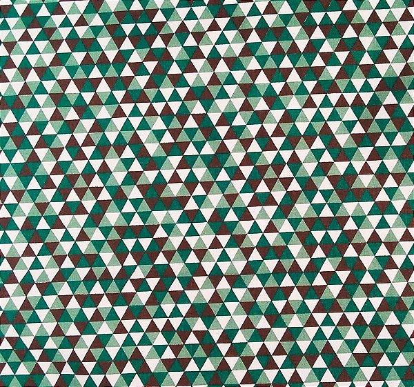Tecido Tricoline Estampa Triângulos Coloridos -Marrom e Verde - Preço de 50 cm x 150 cm