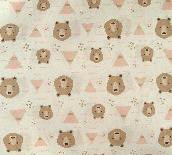 Tecido Tricoline Estampa Urso e Cabana Rosa - Fundo Branco - Preço de 50 cm x 150 cm