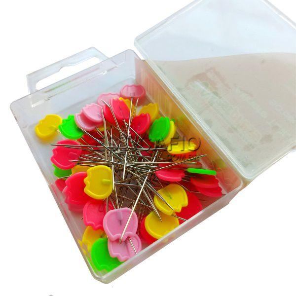 Alfinetes Coloridos Formato de Tulipa - 4,5 cm de Comprimento - 0,8 mm Espessura