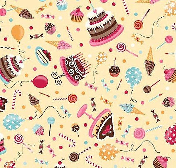 Tecido Tricoline Estampa de Bolos e Doces de Festa  (Fundo Creme) - Preço de 50 cm x 150 cm