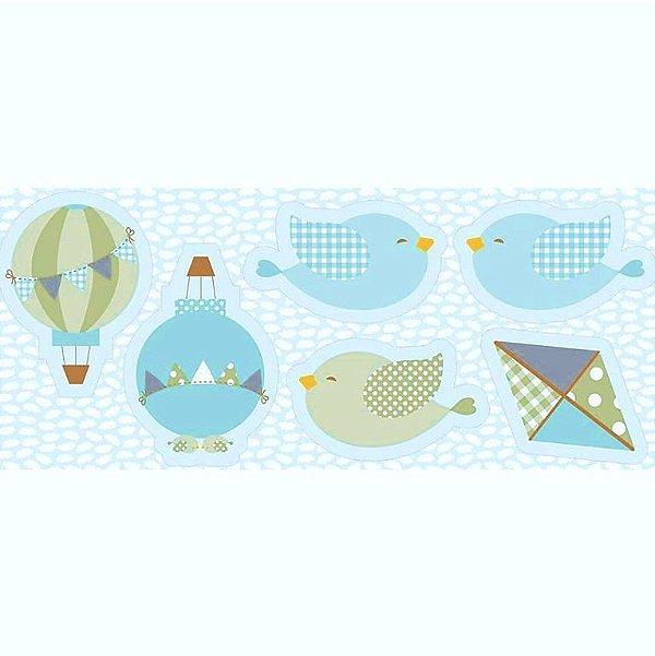 Tecido Tricoline - Pillows - Passarinho Azul - Preço de 60 cm x 150 cm