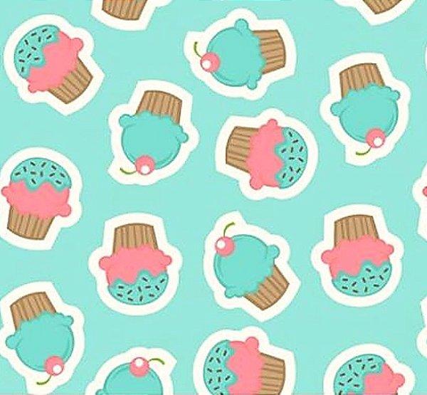 Tecido Tricoline Estampa de Cupcake - Fundo Azul - Preço de 50 cm x 150 cm