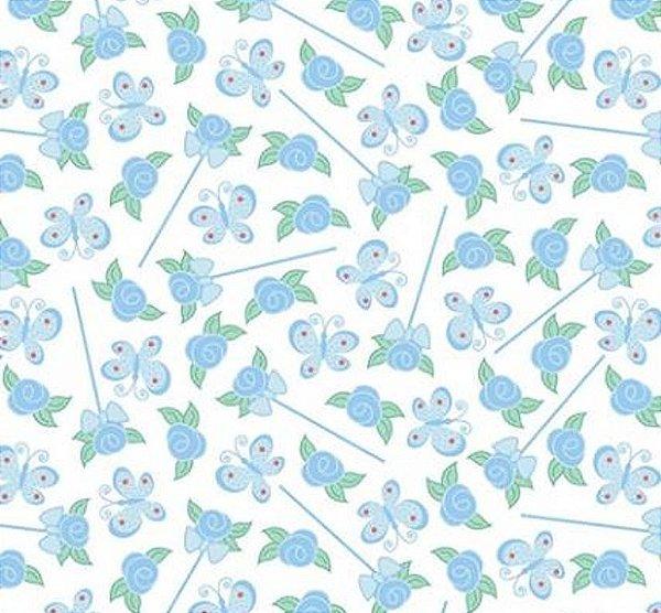 Tecido Tricoline Estampa de Borboletas e Flores Azul - Preço de 50 cm x 150 cm