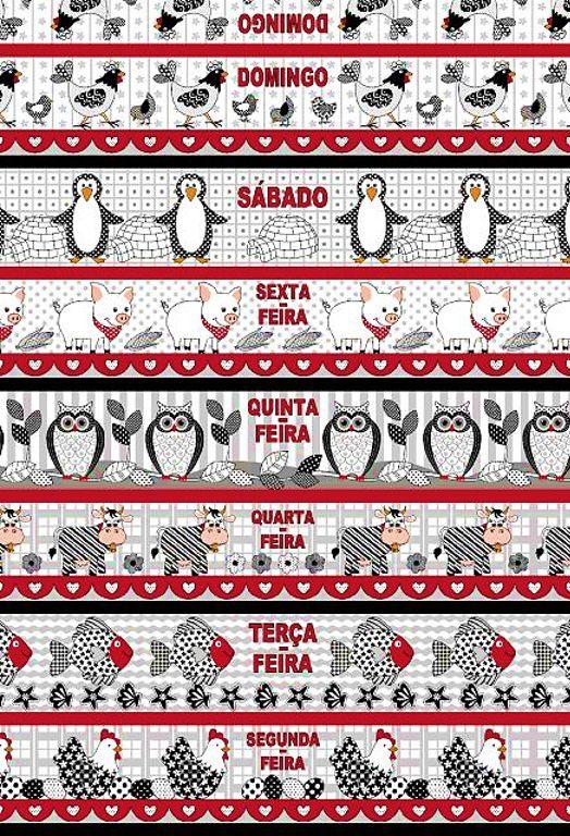 Tecido Tricoline Estampa de Barrados Semaninha: Galinha, Peixe, Vaca, Coruja, Porco e Pinguim - Preço de 60 cm X 146 cm