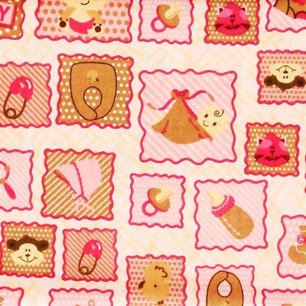 Tecido Tricoline Enxoval de Bebê - Fundo Rosa - Corte Mínimo 50 cm X 146 cm
