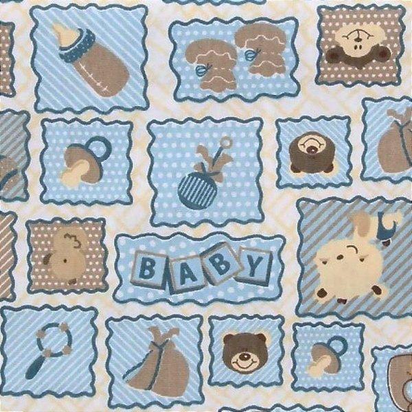 Tecido Tricoline Enxoval de Bebê - Fundo Azul - Corte Mínimo 50 cm X 146 cm