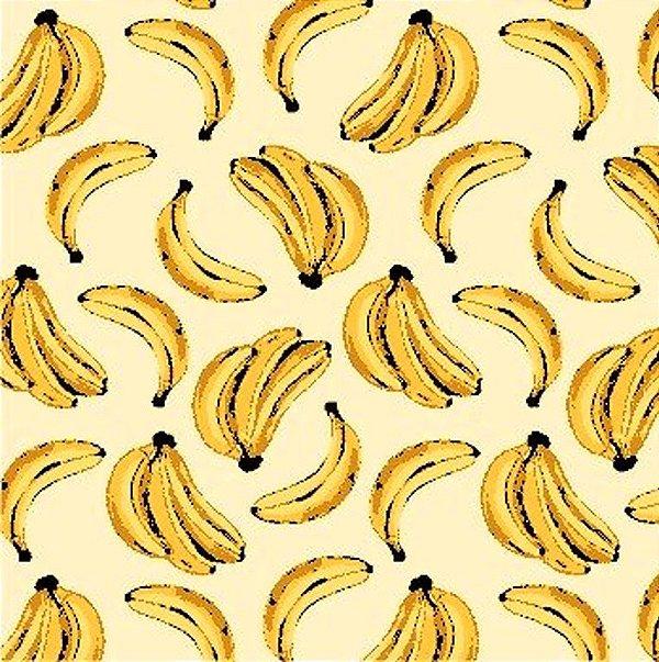 Tecido Tricoline - Coleção Banana Tropical (Fundo Creme) -50 cm x 150 cm