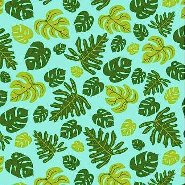 Tecido Tricoline com Estampa  de Folhagem - Coleção Tucano Tropical (Fundo Tiffany) - Preço de 50 cm x 150 cm