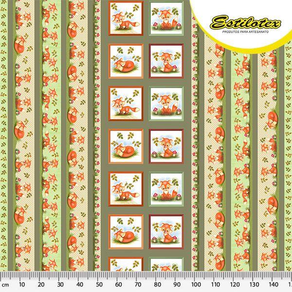 Tecido Tricoline Digital Estampa de Barrados Raposas  - Preço de 43 cm X 140 cm