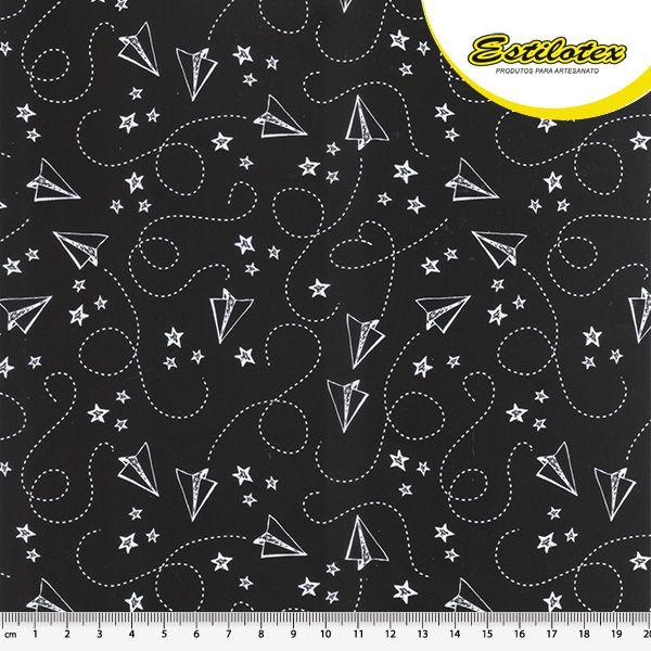 Tecido Tricoline Estampa Folhas de Papel - Fundo Preto - Coleção Eduk - Preço de 50 cm x 150 cm