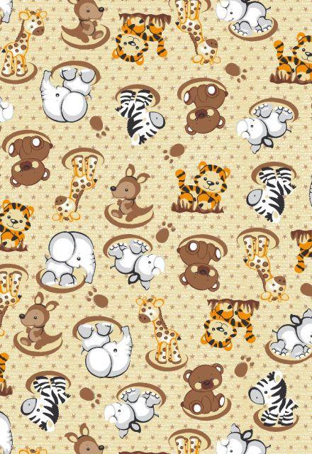 50ffc060bd859c Tecido Tricoline Estampa Animais Bebês: Girafa,Tigre, Elefante, Zebra,  Urso, Rinoceronte e Canguru - Fundo Creme - Preço de 50 cm X 146 cm