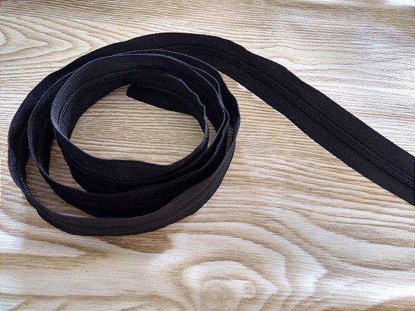 Zíper Grosso nº 5 (3 cm) - Preto - Preço de 50cm