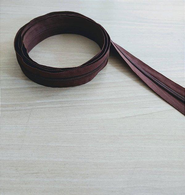 Zíper Grosso nº 5 (3 cm) - Marrom Chocolate - Preço de 50cm
