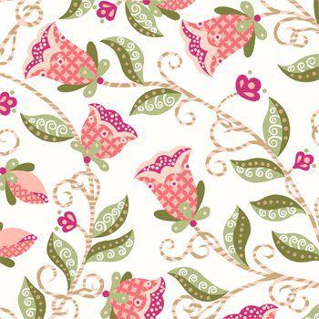 Tecido Tricoline Floral - Fundo Creme - Coleção Arabesque - Preço de 50 cm x 150 cm