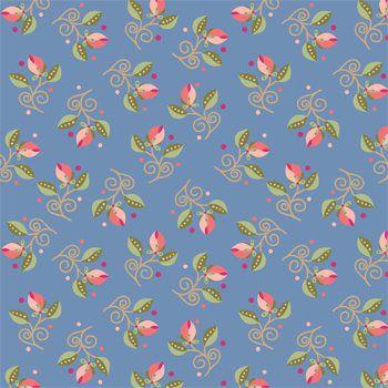 Tecido Tricoline Mini Floral - Fundo Azul - Coleção Arabesque - Preço de 50 cm x 150 cm