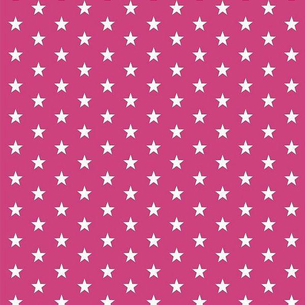 Tecido Tricoline  Estampa Mini Estrela Branca - Fundo Rosa Pink - Preço de 50 cm X 150 cm
