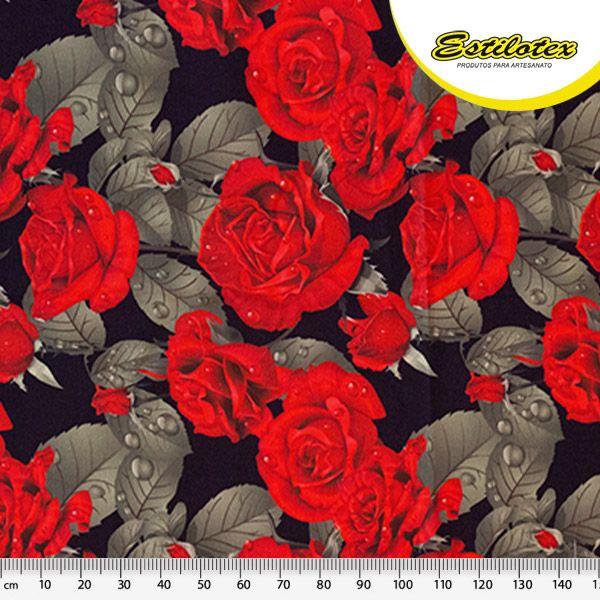 Tecido Digital Floral Rosas Vermelhas (Fundo Preto) - Preço de 50 cm x 140 cm